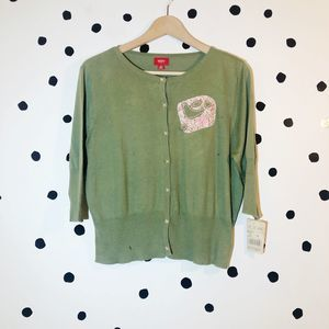 Mossimo Bird Cardigan Green NWT XL